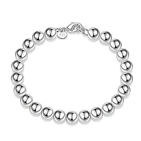 Kangqifen Schmuck Damen-Armband,Galvanisieren 925 Silber Hohlkugeln Armschmuck Armbänder,Breite 8mm - Länge 19cm