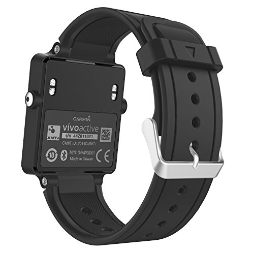 MoKo Garmin Vivoactive Watch Cinturino, Braccialetto di Ricambio in Silicone per Garmin Vivoactive/Vivoactive Acetate Sports GPS Smart Watch, Nero