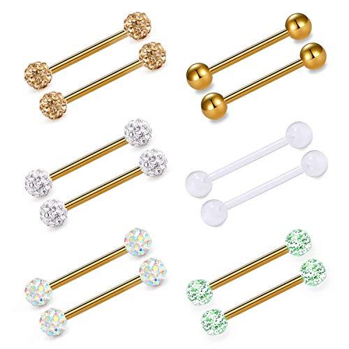 Incaton anelli di lingua acciaio chirurgico capezzolo dritto barbells piercing gioielleria 16mm 14g, oro