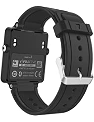 MoKo Garmin Vivoactive / Vivoactive Acetate Sport Armband - Silikon Ersatz-Uhrenarmband Uhrenarmband Einstellbar Armband Replacement Wechselarmband watch band für Garmin Vivoactive / Vivoactive Acetate Sports GPS-Smartwatch, Schwarz
