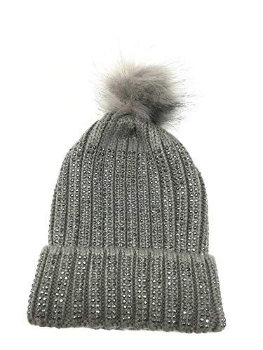 Lancai Knit Beanie-Dick, Weich und Warm Chunky Beanie Hüte Damen Strass Verzierung, Grau -