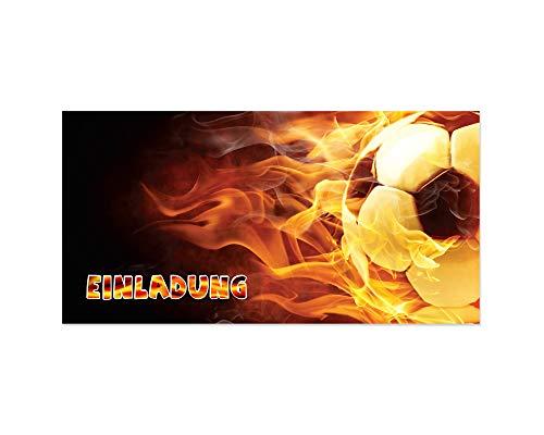 Friendly Fox Fussball Einladung - 12 Einladungskarten Fussball zum Kindergeburtstag Junge Mädchen - Geburtstagseinladungen - Fußball Party Zubehör - ideal für jeden Fußball-Fan ...