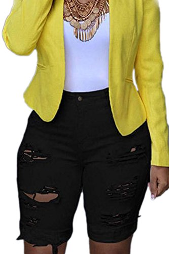 Zojuyozio Women Summer Casual High Waist Ripped Denim Shorts Jeans Trousers Plus Size