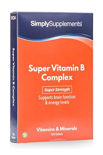 Complexe Super Vitamine B, 120 Comprimés - 2 à 4 Mois d'Approvisionnement, Avec Vitamines B1, B2, B3, B5, B6, B7 (Biotine), B9 (Acide Folique), B12, Aide à Booster les Niveaux d'Énergie & Soutient les Fonctions Cérébrales, Végétarien, Fabriqué au Royaume-Uni
