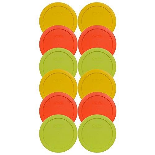 Pyrex 7201-pc rund 4-Cup Container Deckel-(4) Butter Gelb, (4) Kürbis orange und (4) edmamame grün (Glas Rührschüsseln Anchor Hocking)