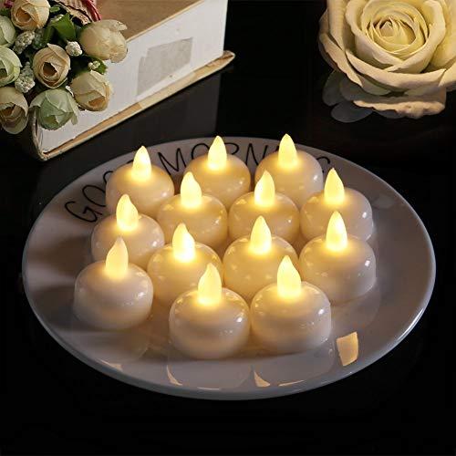 QYRL Packung mit 24 schwimmenden LED-Kerzen, Wasserdichten Teelichtern, romantisch blinkend, batteriebetrieben, ideal für Pool, Party, Hochzeit, Geburtstag, Geschenke und Heimtextilien,A