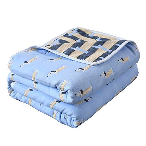 WYQ Kind-Bad-Tücher medizinischer Grad-natürlicher antibakterieller, Baumwollgaze-Tuch, Super weich Super saugfähiger Breathable 6 Schicht Gaze -110 × 110cm Baby-Decke Badetücher (Farbe : Blau) -