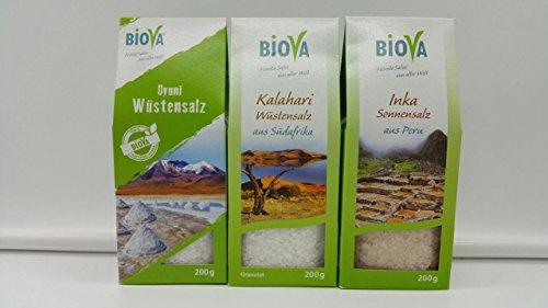 3er Wüstensalz Probier- Mix Set BIOVA feinste Salze aus aller Welt: - 200g Uyuni Wüstensalz aus Bolivien + 200g Kalahari Wüstensalz aus Südafrika + 200g Inka Sonnensalz aus Peru Gourmet Gewürze Salz Set, Feinkost Gewürz Salz Geschenkbox