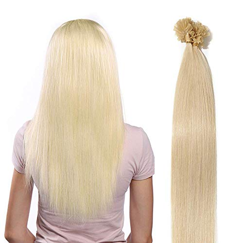 Extension capelli veri cheratina 100 ciocche 50g u tip hair extensions indiani senza clip 0.5g/ciocca 100% remy human hair 50cm/50g #60 biondo platino