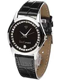 Yves Camani Damenuhr Quarz Lederarmband Mineralglas TWINKLE Steinbesetzt schwarz/schwarz 302-BLIPS