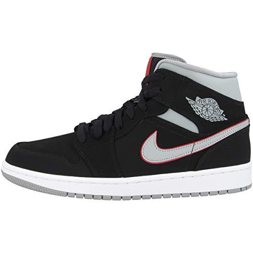 Nike Herren AIR Jordan 1 MID Basketballschuhe, Schwarz (Black/Particle Grey/White/Gym Red 060), 48 1/2 EU