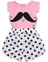 Trajes de tops y Pantalón Koly - Body para Niña, camiseta y pantalones (110, Rosa)