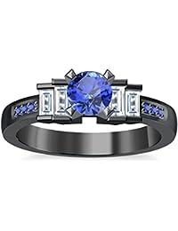 Silvernshine 1.35Ct Round & Buget Cut Tanzanite Sim Dimoands 14K Black Gold Plated Engagement Ring