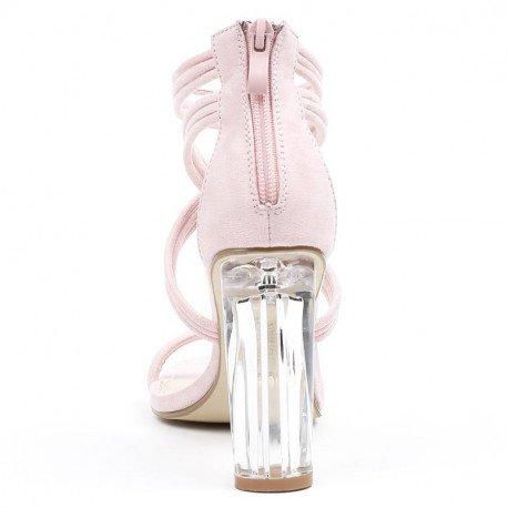Ideal Shoes - Sandales effet daim avec talon transparent Jiliana Rose