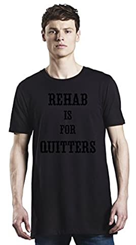 Rehab Is For Quitters Long T-Shirt For Men| Custom -Printed Tee| 100% Superior Organic Combed Cotton| Premium Quality DTG Printing| Unique Clothing For Men By Bang Bangin X-Large