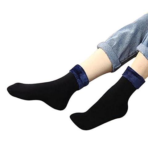 Chaussettes , Reaso Hiver Neutre Chaussettes Chaudes Cotton Montantes à Rayures Socks Chaussettes Courtes (Bleu Foncé)