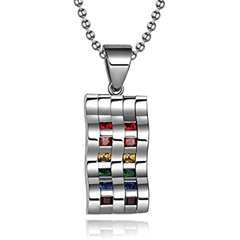 Vnox Gay Lesbiche LGBT in acciaio inox Chevron figura del doppio della collana del pendente Linea zircone Arcobaleno Pride per la cerimonia nuziale,la catena libera - Linea Bene