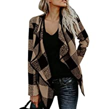 Fuerbvbc Women's Casual Plaid Printed Long Sleeve Turndown Collar Loose Woolen Overcoat Coats