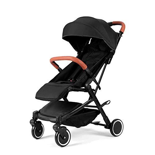 OLDJTK Kinderwagen Kinderwagen Kinderwagen Kinderwagen Buggy Kinderwagen Sichere Pflege Vierrad Faltbare Einstellbare Jogger Travel System Kinderwagen (Color : Black)