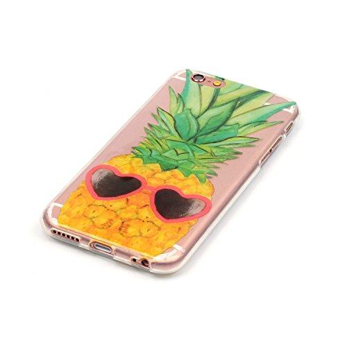 LuckyW TPU Handyhülle für Apple iPhone 6 plus/6s plus(5.5 zoll) Soft Silikon Tasche Transparent Schale Clear Klar Hanytasche Durchsichtig Rückschale Ultra Slim Thin Dünne Schutzhülle Weiche Flexibel K Ananas