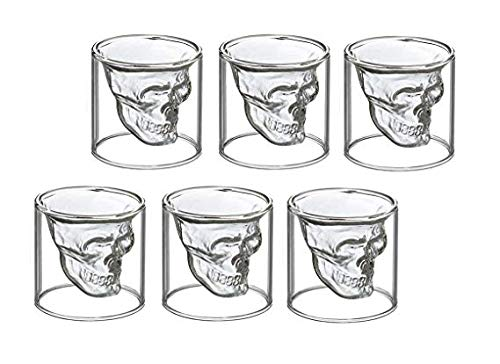 Schnapsglas Totenkopf 6er Set - Shot-Glas Skull Head Stamper 60ml