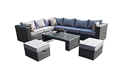 Yakoe Papaver 8 Seater Modular Rattan Garden Furniture Corner Sofa Lounge Set