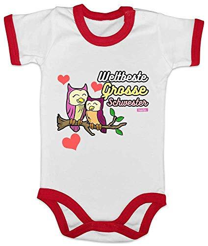 HARIZ Baby Body Ringer Weltbeste Grosse Schwester Eulen Herz Geburt Geschwister Plus Geschenkkarten Weiß/Rot 3-6 Monate -