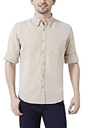 Peter England Mens Slim Fit Shirt_ ESF51504288_42_ Beige