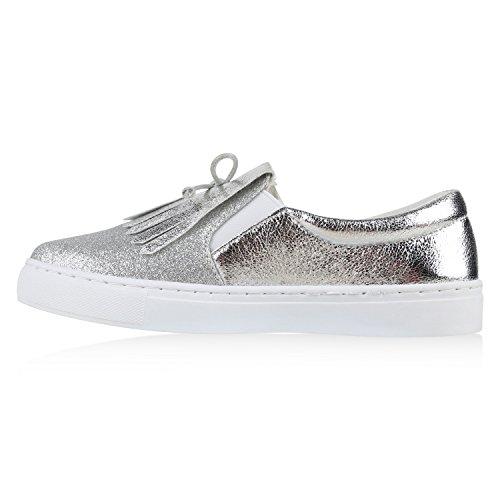 Damen Sneakers Slip-ons Lack Glitzer Metallic Slipper Schuhe Silber Fransen