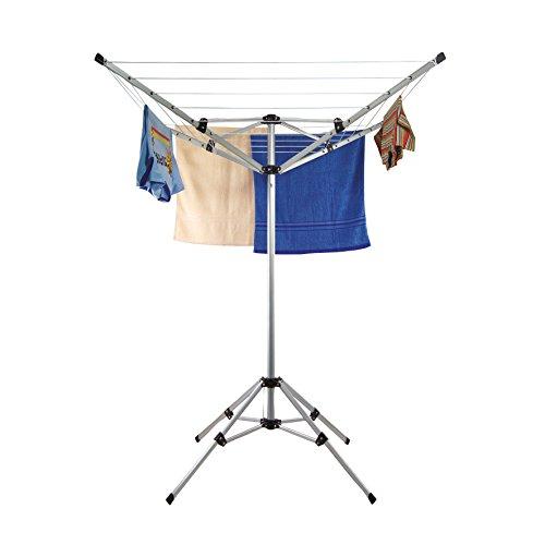 Stand Wäschespinne mit Standfuß für Wäsche - Aluminium Wäscheständer klappbar Wäschetrockner Standtrockner für Balkon, Garten ca. 20 m Wäscheleine