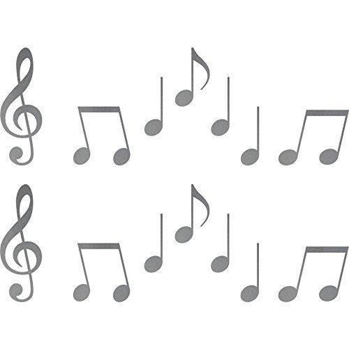 2 Sets Aufkleber Notenschlüssel Violinschlüssel 10cm + Noten Tattoo Auto Tür Fenster Deko Folie (silber)