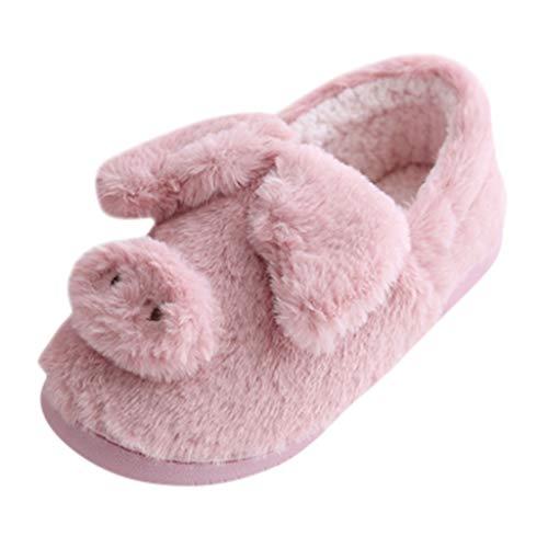 DAIFINEY Damen Cartoon Stiefel Hausschuhe Winter Baumwolle Pantoffeln Plüsch Warme Weiche Hausschuhe Kuschelige Home rutschfeste Slippers Gewickelte Ferse(Rot/Red,36) -