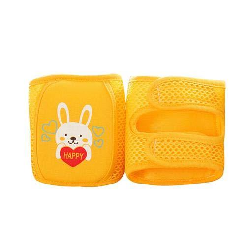 Baby Knieschoner 1 Paar Baby Krabbelknieschoner verstellbar Cartoon Knieschoner Knieschoner Ellenbogenschützer Armschützer Sicherheits-Schutz Kleinkinder Mädchen und Jungen für 0-5 Jahre, gelb