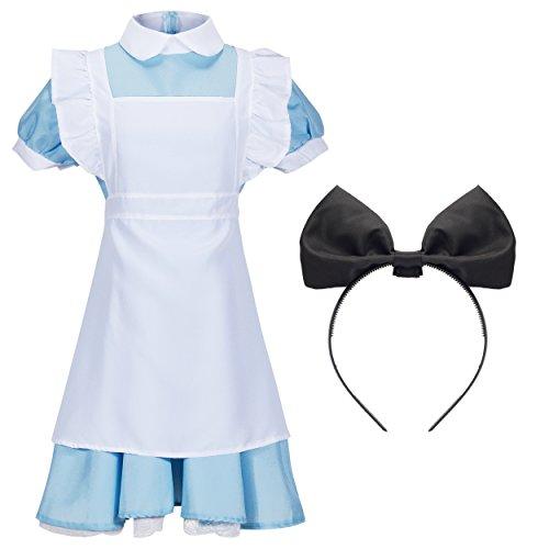 Katara - Costume per travestimento da Alice nel paese delle Meraviglie, Abito ispirato ad Alice in Wonderland o cameriera francese Con cerchietto, per Halloween, carnevale, Taglia L