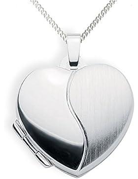 Medaillon 925 Silber Herz zum öffnen für Bildereinlage/ 2 Fotos Amulett von Haus der Herzen®