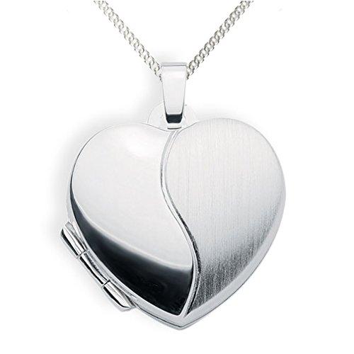 Haus der Herzen Medaillon 925 Silber Herz zum öffnen für Bildereinlage/ 2 Fotos Amulett (Kette 925 Siber) (Silber Medaillon Herz)
