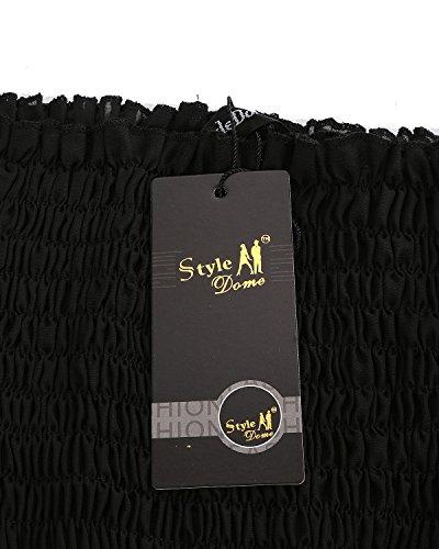 StyleDome Femme Vintage Mousseline Robe Longue Bustier Epaule Nue Sans Manches Tunique Robe de Soirée Cocktail Plage Noir