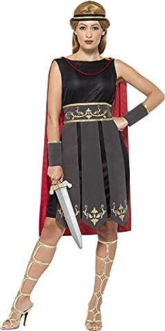 Smiffy's 45496X1 - Damen Römische Kriegerin Kostüm, Kleid mit Umhang, Arm Stulpen und Haarband, Größe: 48-50, (Roman Kriegerin Kostüm)