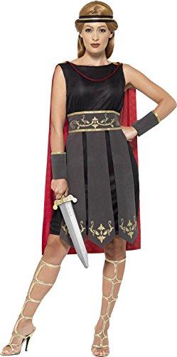 men Römische Kriegerin Kostüm, Kleid mit Umhang, Arm Stulpen und Haarband, Größe: 48-50, schwarz (X-kostüm)