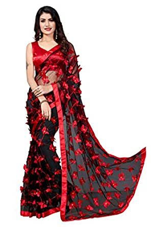 JULEE Women's Net Saree with Unstitched Blouse Piece
