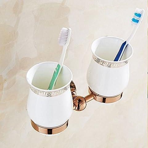européenne Ensemble de support de brosse à dents en acier inoxydable Brosse à dents Porte-gobelet Doré laver Porte-gobelet du bain de bouche Porte-gobelet de coupe double, C, 11*21.2cm