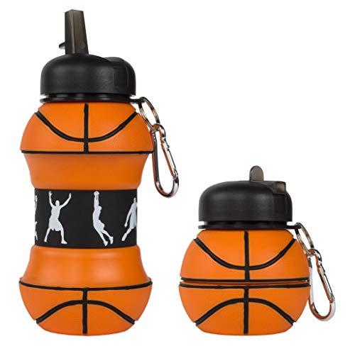 Fringoo Silikon Faltbare Trinkflasche für Kinder 500ml / 17oz mit Karabiner Clip Auslaufsicher BPA-frei Reise Sport Trinkflasche, Kinder, Basketball, 550 ml - 19 oz -
