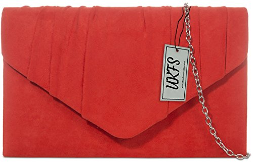 Designer Autumn UKFS Ladies Velvet Envelope Soirée embrayage sac à main Écarlate