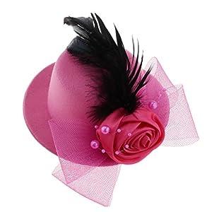 F Fityle Mädchen Fascinator Blumen Netz Braut Kopfschmuck Haar Clip Hut Feder Haarschmuck Kopfbedeckung