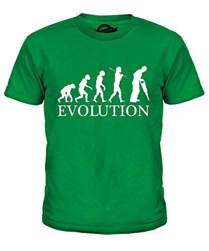 uarbeiter Evolution Des Menschen Unisex Jungen Mädchen T Shirt, Größe 4 Jahre, Farbe Grün (Der Builder Kind Kostüme)
