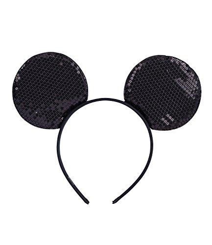 SIX Haarreif: Paillettenbestickter Haarschmuck, Minnie-Mouse-Ohren für Karneval/Fasching/Mottopartys, fester Halt, 12 cm, schwarz (315-702)
