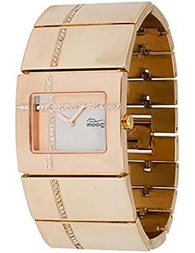 Moog Paris Mondrian Damen Uhr mit Weißem Zifferblatt, Swarovski Elements & Rosegoldenem Armband aus Edelstahl...