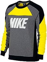 ... Sudaderas sin capucha : Nike. Nike W NSW Crew FLC CB Sweatshirt, Mujer, OPTI Yellow/Carbon Heather/