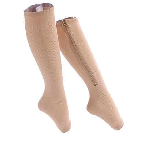 2 pacchi calze a compressione,unisex elastiche compressione calzini punta aperta medicale cerniera calzini supporto per i piedi per vene varicose, edema, zampe gonfie o doloranti (2xl, nero + pelle)