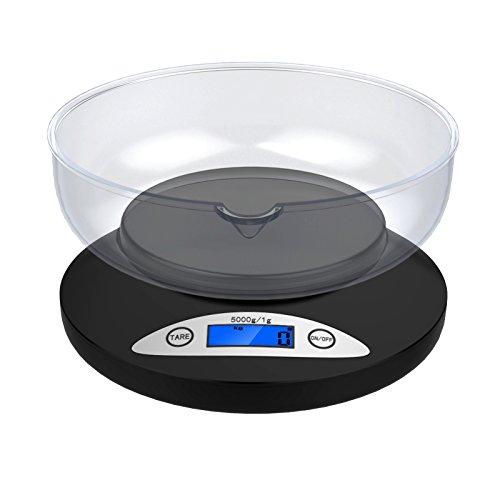 5 Kg/1g Küchenwaage - Ascher Digitale Küchenwaage,5000 x 1g Küchenwaage mit herausnehmbarem Innenbehälter für Backen & Kochen